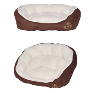 Yappy Roxy Range Dog Bed – Donut Brown/Cream Medium