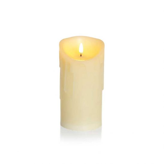 Melted Edge Flicker LED Candle Cream 18 x 9cm (Battery Operated)