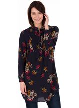Long Sleeve Pintuck Floral Tunic - Navy PinkStyle 037E5S1