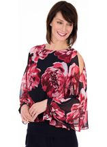 Printed Chiffon Layered Cold Shoulder Top - Midnight WatermelonStyle image