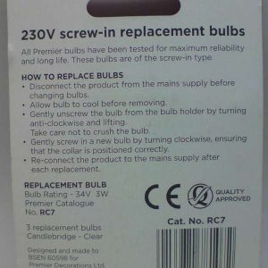 3 Replacement Candlebridge Bulbs-34V 3W