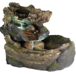 Cascading Rock Garden Waterfall Fountain With Warm White LED Light | McD's Garden Centre | Water Features