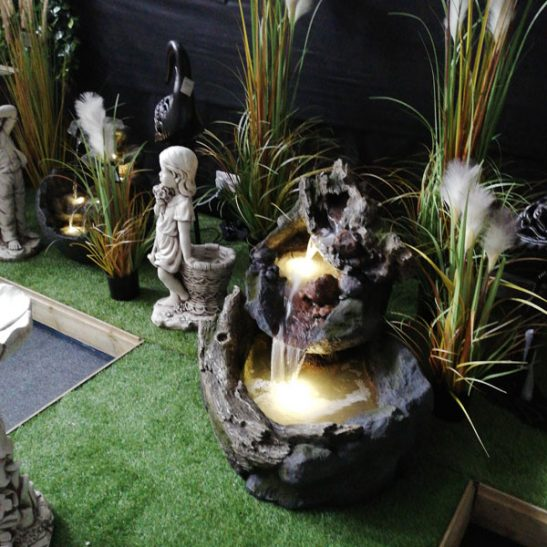 Cascading Rock Garden Waterfall Fountain With Warm White LED Light