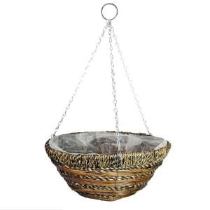 35cm (14″) Sisal Rope & Fern Hanging Basket