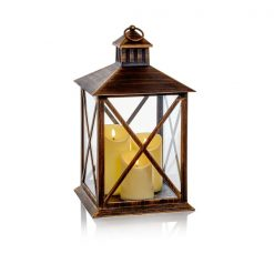 40cm Lantern with 3 Flickabright Flame Candle And Timer-Antique Gold | LB191199AG| McD's Christmas Shop