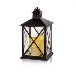 40cm Lantern with 3 Flickabright Flame Candle And Timer-Black | LB191199B| McD's Christmas Shop