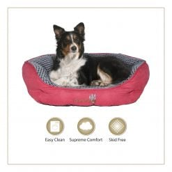 Woofers Lagan Large Dog Bed    Red & Grey - Dog Nappers Dog Beds
