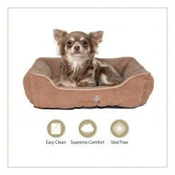 Woofers Liffey Small Dog Bed | Brown & Beige - Dog Nappers Dog Beds