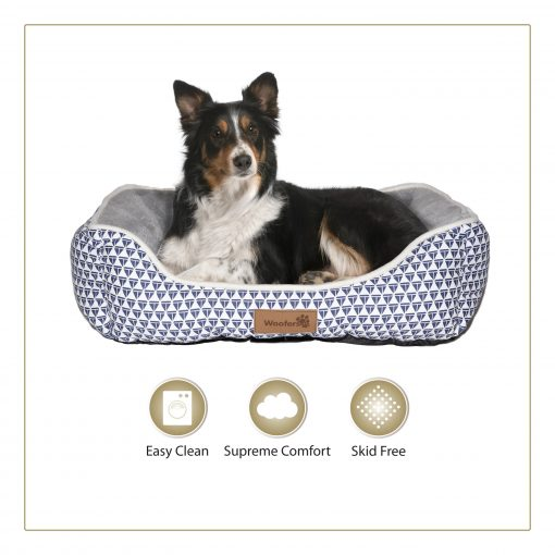Woofers Nore Large Dog Bed | Blue & White - Dog Nappers Dog Beds