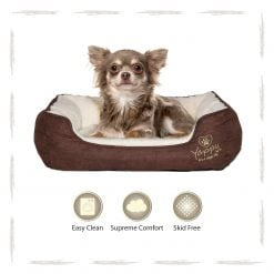 Yappy Roxy Small Dog Bed | Brown - Dog Nappers Dog Beds