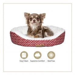 Woofers Slaney Small Dog Bed | Red & White - Dog Nappers Dog Beds
