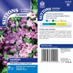 Asarina Seeds - Formula Mix by Suttons Seeds| 102846| Nationwide Delivery On Flower Seeds