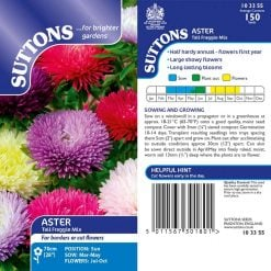 Aster Seeds - Tall Fraggle Mix by Suttons Seeds| 103355| Nationwide Delivery On Flower Seeds