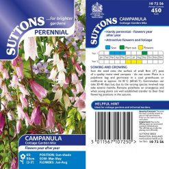 Campanula Seeds - Cottage Garden Mix by Suttons Seeds| 107256| Nationwide Delivery On Flower Seeds