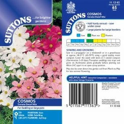 Cosmos Seeds - Sonata Dwarf Mix by Suttons Seeds| 111362| Nationwide Delivery On Flower Seeds