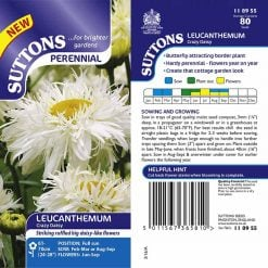 Leucanthemum Seeds - Crazy Daisy by Suttons Seeds| 118955| Nationwide Delivery On Flower Seeds