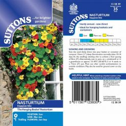 Nasturtium Seeds - Dayglow Mix by Suttons Seeds| 123839| Nationwide Delivery On Flower Seeds