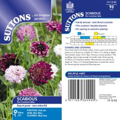 Scabious Seeds - Pincushion Mix by Suttons Seeds| 131252| Nationwide Delivery On Flower Seeds