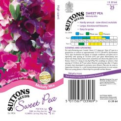 Sweet Pea Seeds - Melody Mix by Suttons Seeds| 133964| Nationwide Delivery On Flower Seeds
