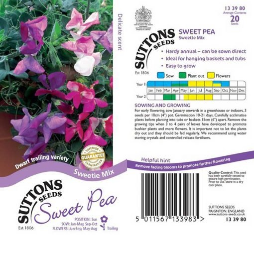 Sweet Pea Seeds - Sweetie Mix by Suttons Seeds| 133980| Nationwide Delivery On Flower Seeds