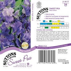 Sweet Pea Seeds - Noel Sutton by Suttons Seeds| 134077| Nationwide Delivery On Flower Seeds