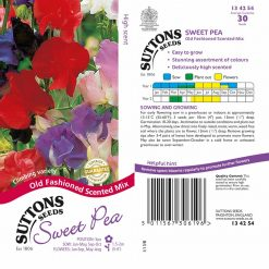 Sweet Pea Seeds - Old Fashioned Scented Mix by Suttons Seeds| 134254| Nationwide Delivery On Flower Seeds