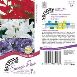 Sweet Pea Seeds - Patriotic Mix by Suttons Seeds| 134707| Nationwide Delivery On Flower Seeds