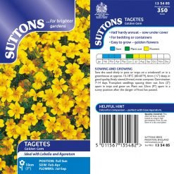 Tagetes Tenuifolia Pumila Seeds - Golden Gem by Suttons Seeds| 135485| Nationwide Delivery On Flower Seeds