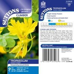 Canary Creeper Seeds by Suttons Seeds| 135965| Nationwide Delivery On Flower Seeds