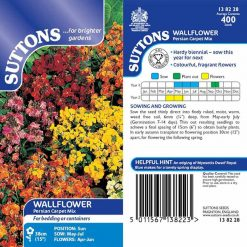 Wallflower Seeds - Persian Carpet Mix by Suttons Seeds| 138228| Nationwide Delivery On Flower Seeds