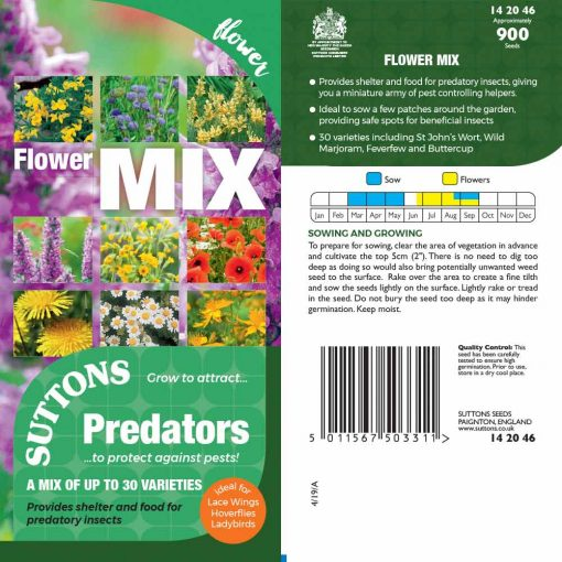Predators Seeds - Flower Mix by Suttons Seeds| 142046| Nationwide Delivery On Flower Seeds