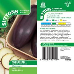 Aubergine Black Beauty by Suttons Seeds| 150922| Nationwide Delivery