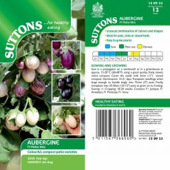 Aubergine F1 Patio Mix by Suttons Seeds| 150923| Nationwide Delivery
