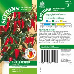 Chilli Pepper Apache F1 by Suttons Seeds| 156040| Nationwide Delivery