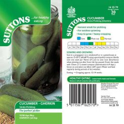 Cucumber Gherkin Venlo Pickling by Suttons Seeds| 162579| Nationwide Delivery
