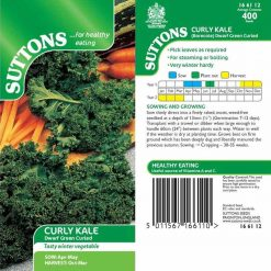 Curly Kale Dwarf Green Curled by Suttons Seeds  166112  Nationwide Delivery