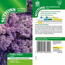 Curly Kale Scarlet by Suttons Seeds  166295  Nationwide Delivery