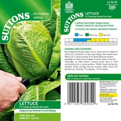 Lettuce Cosberg Sweet Success F1 by Suttons Seeds  169470  Nationwide Delivery