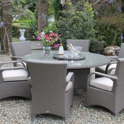 Casino 6 Seater Rattan Dining Set-RADRGY265| McD's Garden Centre | Nationwide Delivery