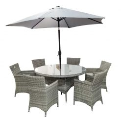Melbourne 6 Seater Rattan set with parasol-MEL6S| McD's Garden Centre | Nationwide Delivery