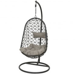 Bologna Wicker Hanging Egg Chair Black- 9840364- 365492| McD's Garden Centre | Nationwide Delivery On Egg Chairs