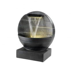 Cut Sphere Dome Dark Grey Water Fountain With Warm White LED Light | McD's Garden Centre | Water Features
