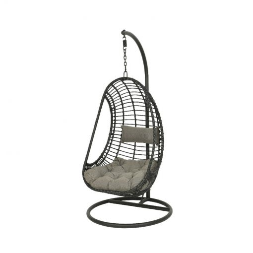 Riga Wicker Hanging Egg Chair Black- 9841444- 841444| McD's Garden Centre | Nationwide Delivery On Egg Chairs