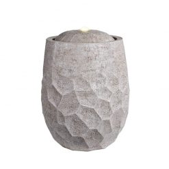 Stone Vase White Washed Water Fountain With Warm White LED Light | McD's Garden Centre | Water Features