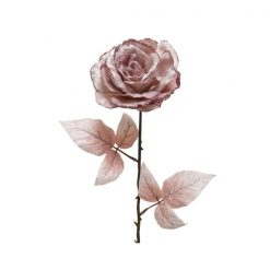 Rose With Stem - Glitter Baby Pink | 629112