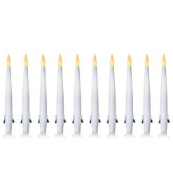 LB201001 15cm White LED Christmas Candles 10 Pack with Clip and Remote Control